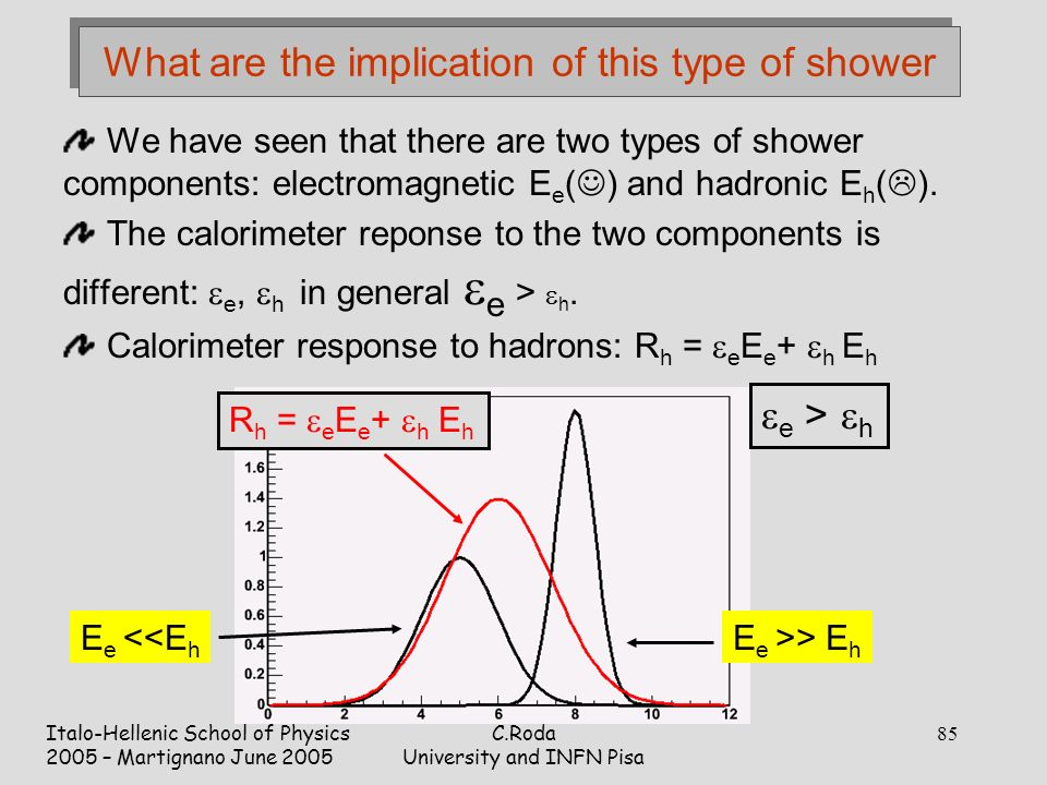 Italo-Hellenic School of Physics 2005 – Martignano June 2005 C.Roda University and INFN Pisa 85 What are the implication of this type of shower We have seen that there are two types of shower components: electromagnetic E e ( ) and hadronic E h (  ).