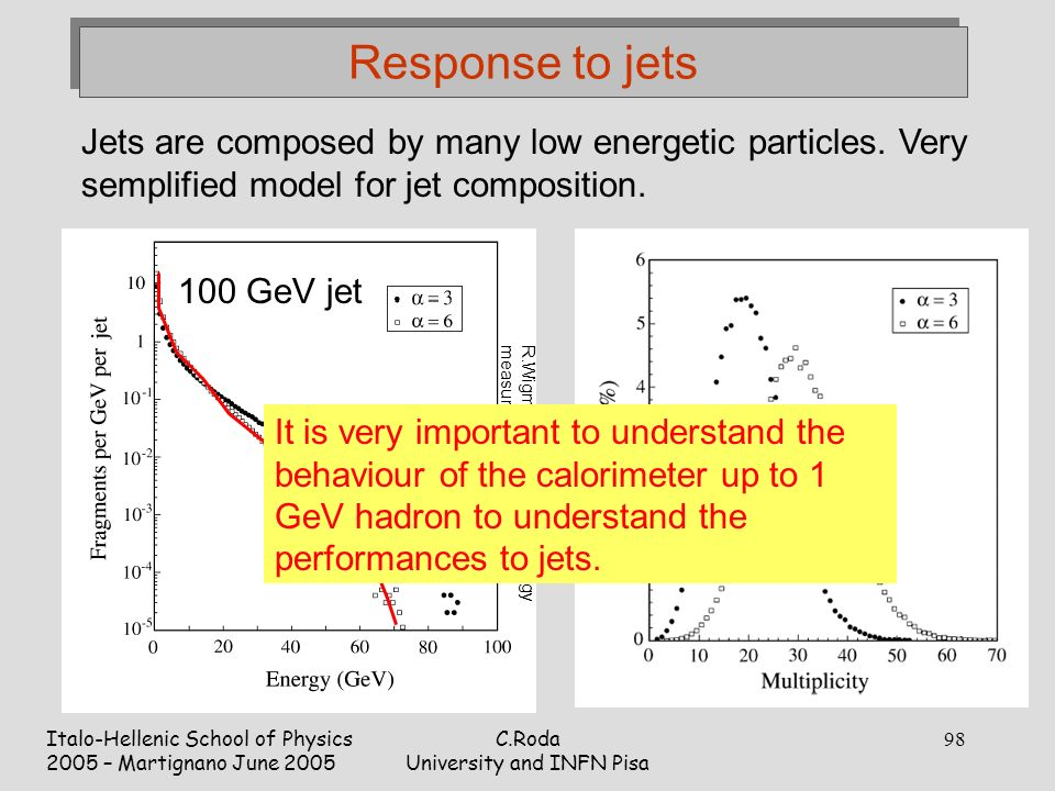 Italo-Hellenic School of Physics 2005 – Martignano June 2005 C.Roda University and INFN Pisa 98 Response to jets Jets are composed by many low energetic particles.