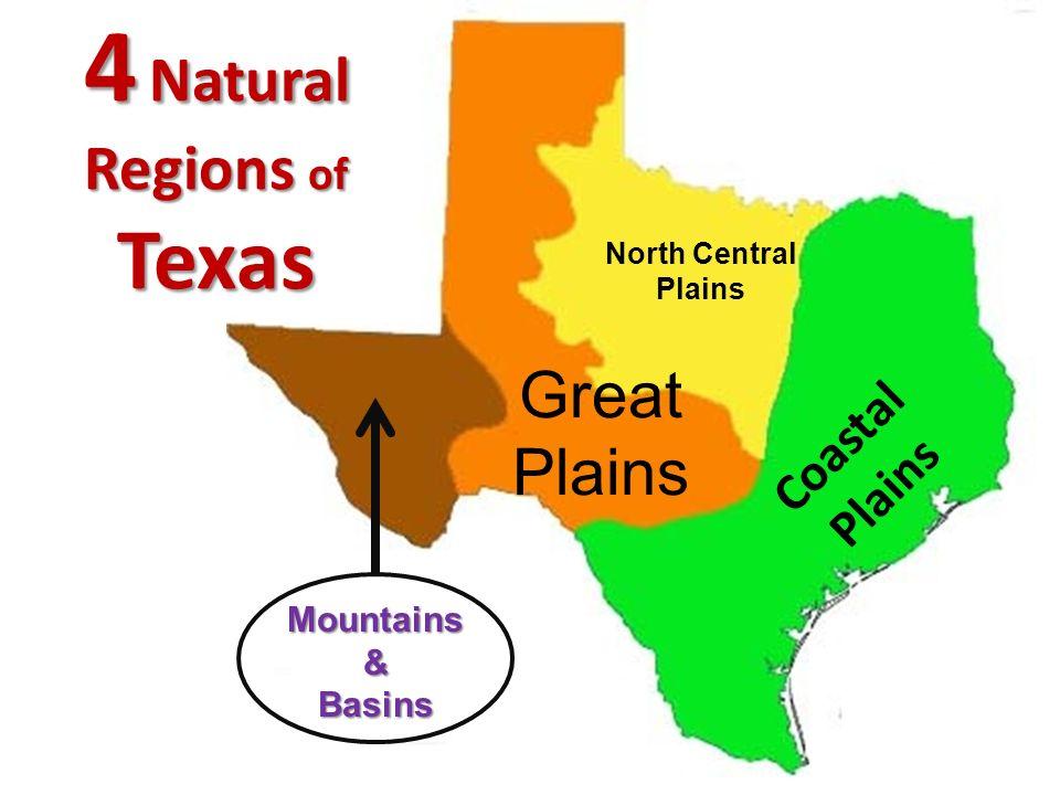 4 Natural Regions of Texas Coastal Plains Great Plains North Central Plains Mountains&Basins