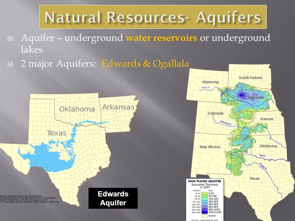  Aquifer – underground water reservoirs or underground lakes  2 major Aquifers: Edwards & Ogallala Edwards Aquifer