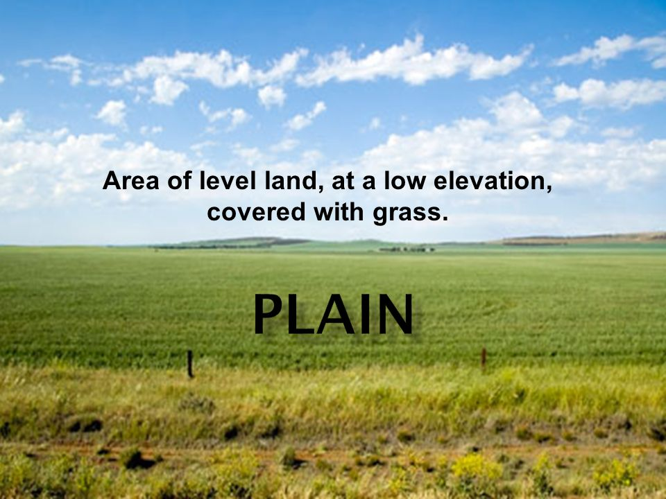 Area of level land, at a low elevation, covered with grass.