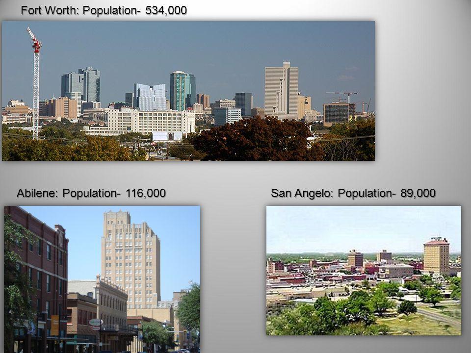 Fort Worth: Population- 534,000 Abilene: Population- 116,000 San Angelo: Population- 89,000