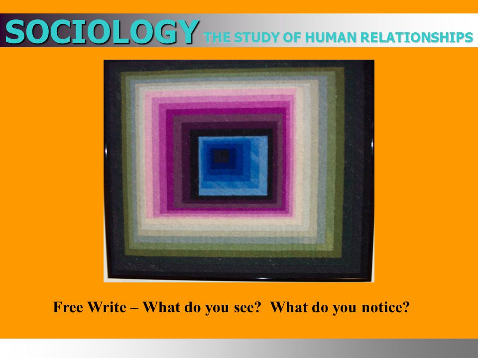THE STUDY OF HUMAN RELATIONSHIPS SOCIOLOGY Free Write – What do you see What do you notice