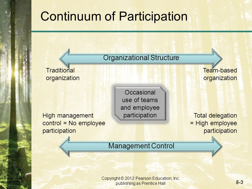 Copyright © 2012 Pearson Education, Inc. publishing as Prentice Hall 8-3 Continuum of Participation Organizational Structure Management Control High m