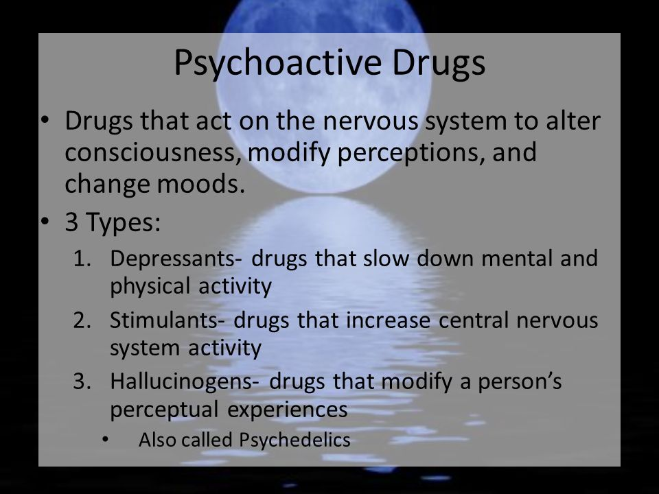 altering consciousness through drugs An altered state of consciousness defined by a chemical substance that passes through the blood and disturbs a class of drugs that alter consciousness.