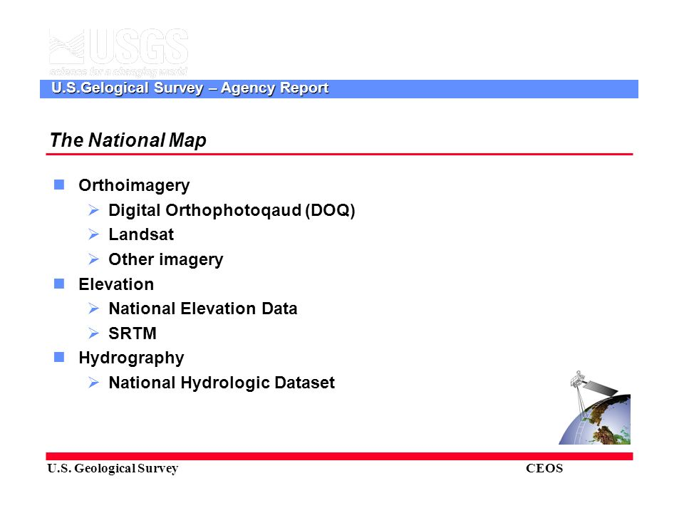 US Geological Survey CEOS USGelogical Survey Agency Report - Us geological survey local map
