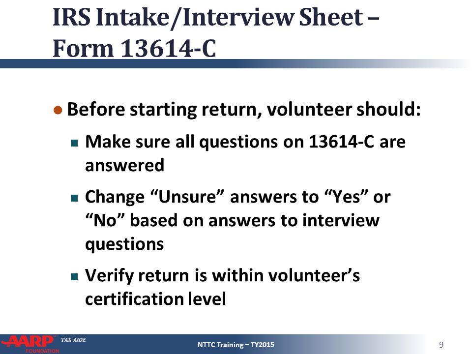 Tax Aide Screening And Interviewing Form C Pub 4012 C Job Aid Pub