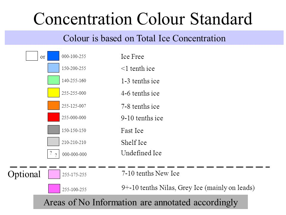 Interpreting ice charts: concentration colour standard
