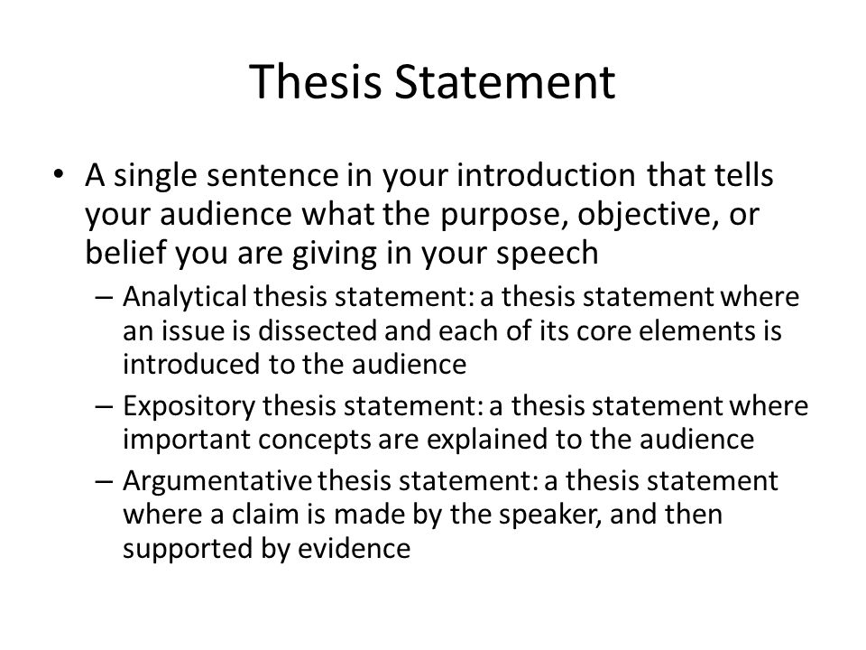 Example Thesis Statement For Informative Speech