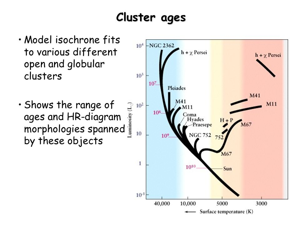 Lecture 18 stellar populations stellar clusters open clusters 22 cluster ages model isochrone fits to various different open and globular clusters shows the range of ages and hr diagram morphologies spanned by these ccuart Gallery