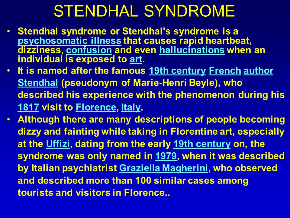 how do you feel stendhal syndrome stendhal syndrome or  3 stendhal syndrome