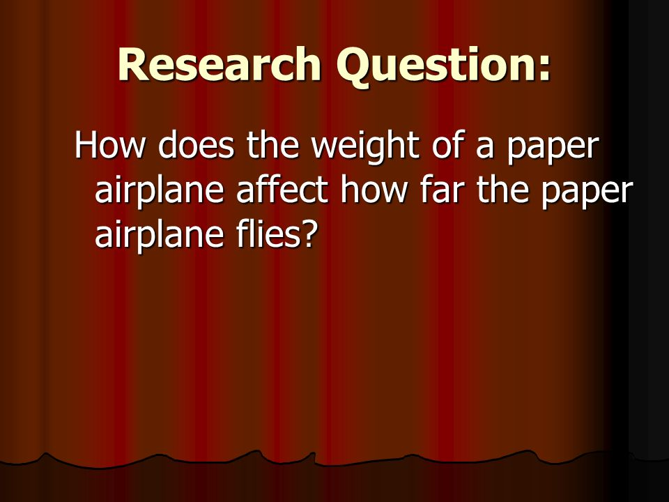 Paper airplane research