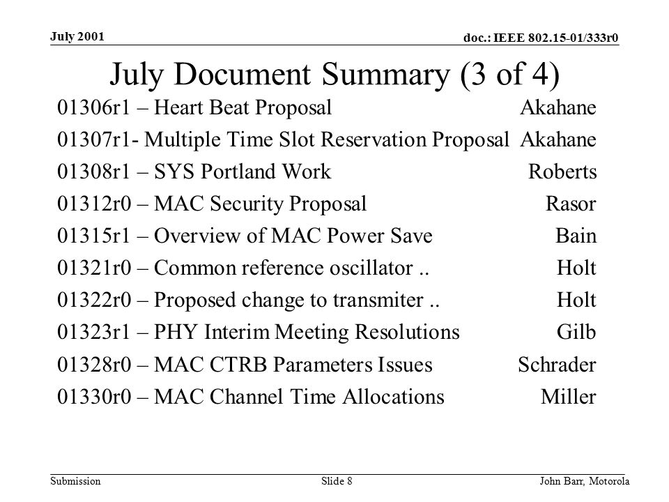 doc.: IEEE /333r0 Submission July 2001 John Barr, MotorolaSlide 8 July Document Summary (3 of 4) 01306r1 – Heart Beat ProposalAkahane 01307r1- Multiple Time Slot Reservation ProposalAkahane 01308r1 – SYS Portland WorkRoberts 01312r0 – MAC Security ProposalRasor 01315r1 – Overview of MAC Power SaveBain 01321r0 – Common reference oscillator..Holt 01322r0 – Proposed change to transmiter..Holt 01323r1 – PHY Interim Meeting ResolutionsGilb 01328r0 – MAC CTRB Parameters IssuesSchrader 01330r0 – MAC Channel Time AllocationsMiller