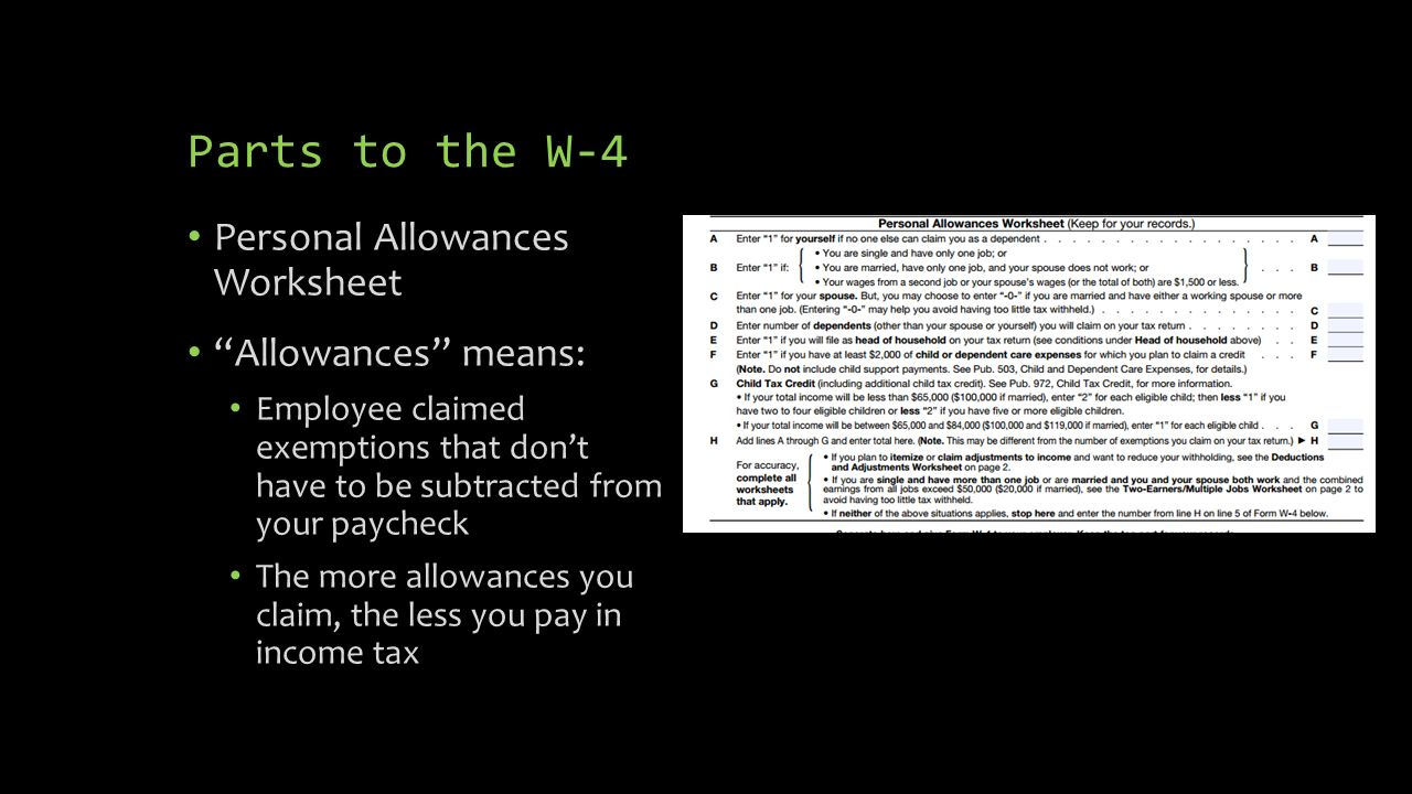 Filling out the W4 Independent Living October 14 ppt download – Personal Allowances Worksheet