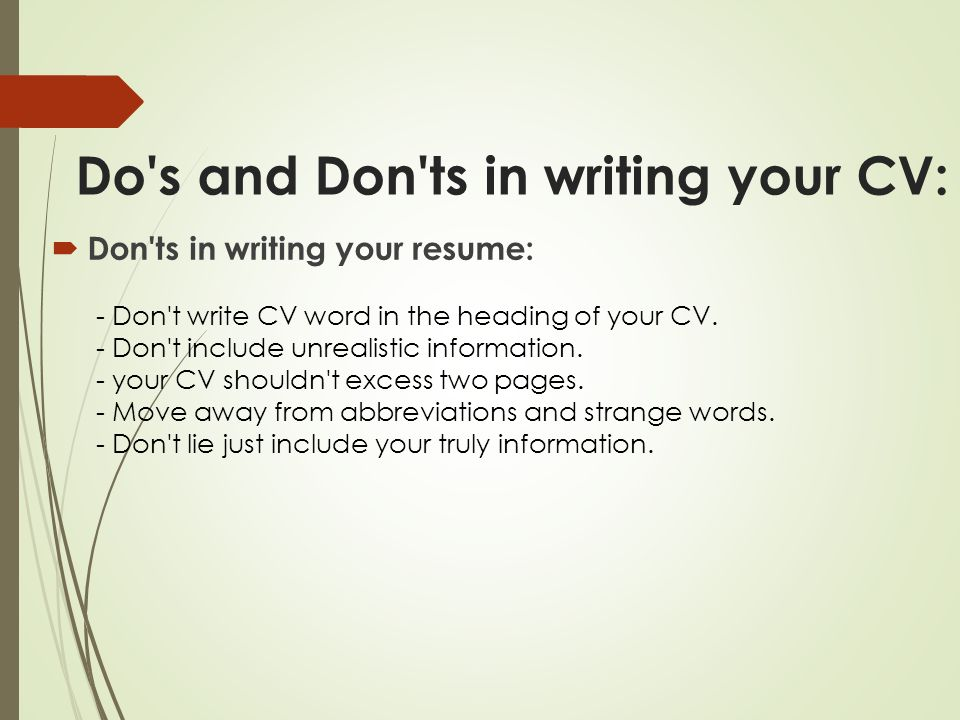 Resume Heading headings for a resume images about cv on pinterest resume heading for resume resume heading samples heading for a resume Do S And Don Ts In Writing Your Cv Don Ts In Writing