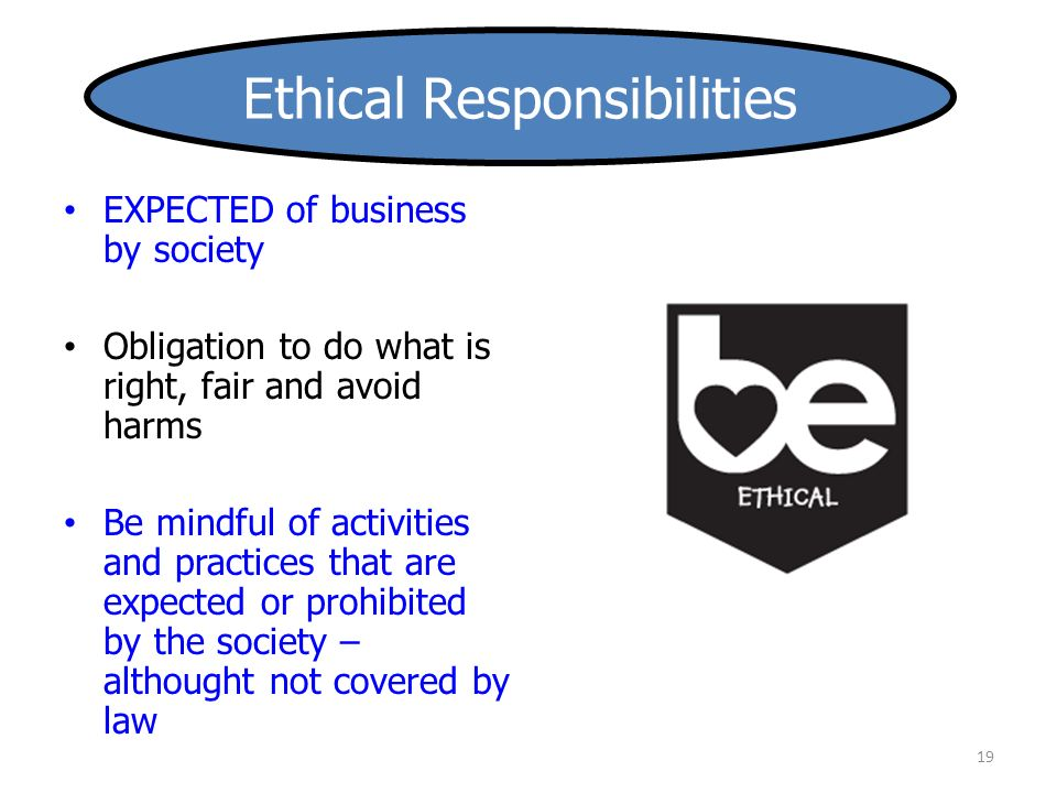 19 EXPECTED of business by society Obligation to do what is right, fair and avoid harms Be mindful of activities and practices that are expected or prohibited by the society – althought not covered by law Ethical Responsibilities