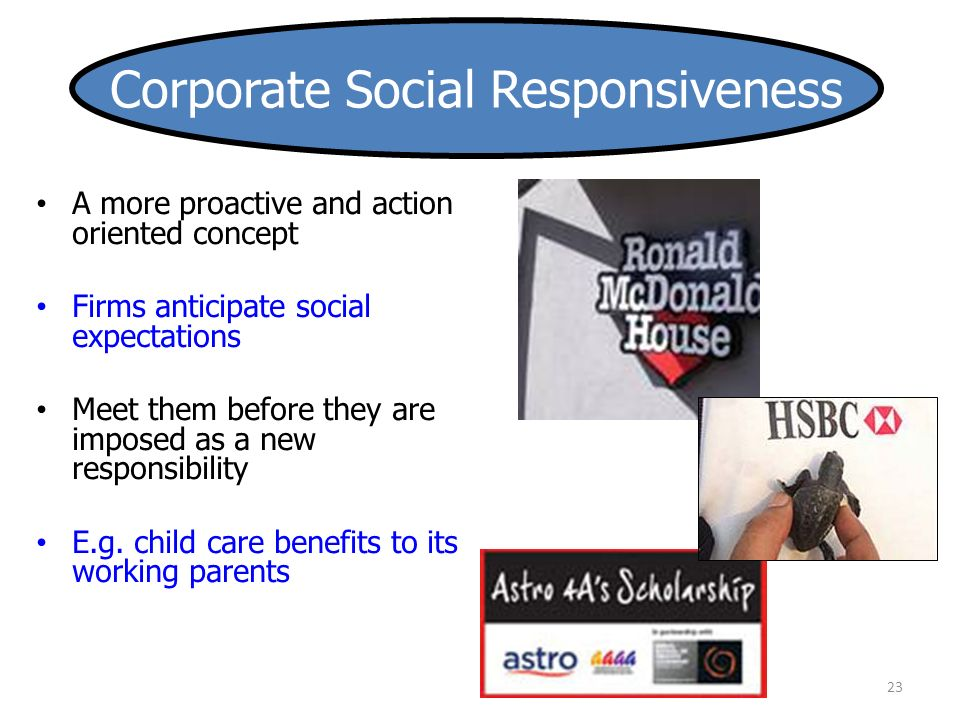 A more proactive and action oriented concept Firms anticipate social expectations Meet them before they are imposed as a new responsibility E.g.