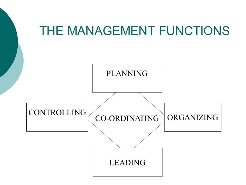 THE MANAGEMENT FUNCTIONS CO-ORDINATING PLANNING CONTROLLING ORGANIZING LEADING