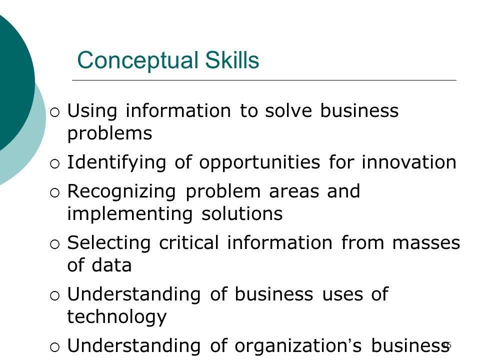 16 Conceptual Skills  Using information to solve business problems  Identifying of opportunities for innovation  Recognizing problem areas and impl