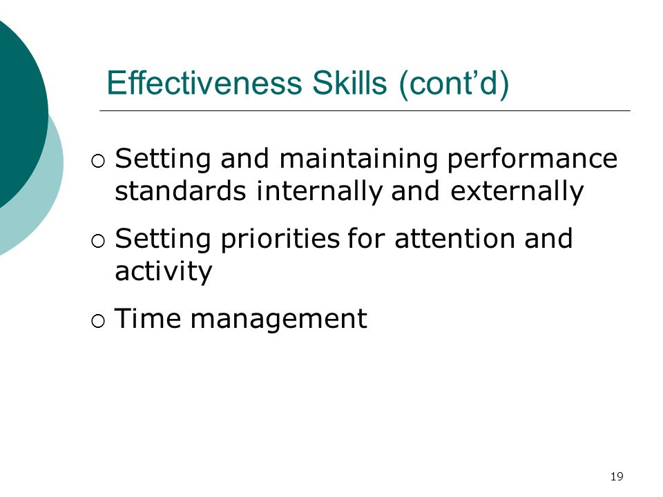 19 Effectiveness Skills (cont'd)  Setting and maintaining performance standards internally and externally  Setting priorities for attention and acti