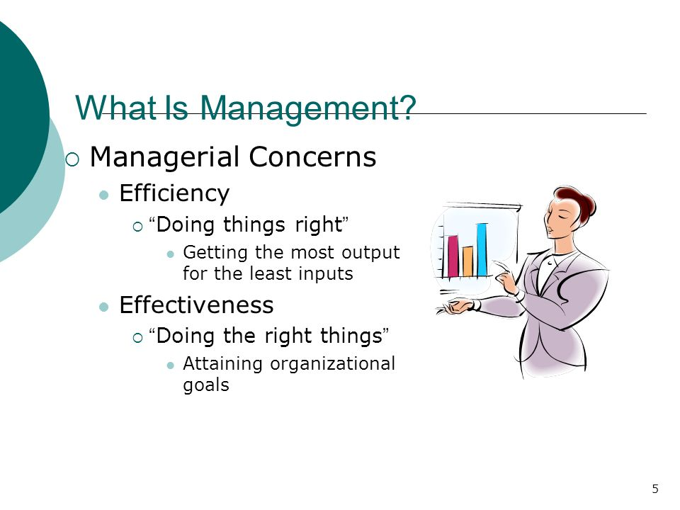 "5 What Is Management?  Managerial Concerns Efficiency  "" Doing things right "" Getting the most output for the least inputs Effectiveness  "" Doing t"