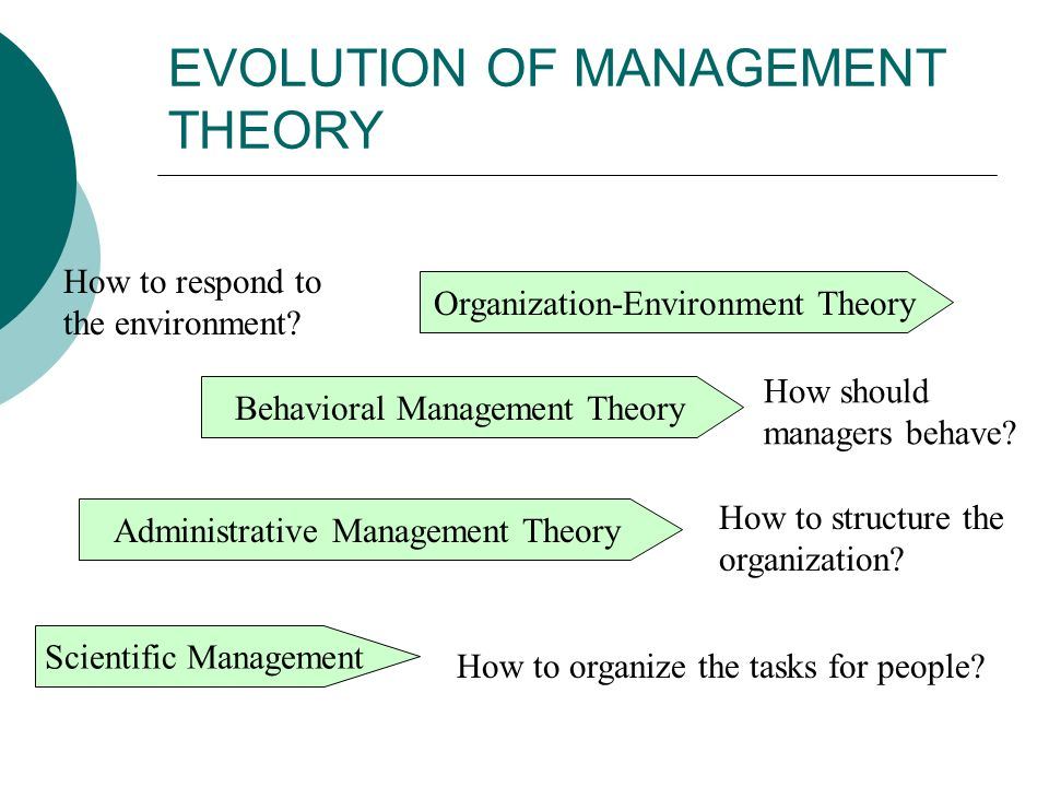 EVOLUTION OF MANAGEMENT THEORY Scientific Management Administrative Management Theory Behavioral Management Theory Organization-Environment Theory How
