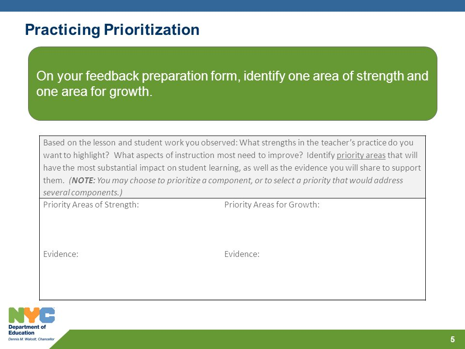 Practicing Prioritization 5 Based on the lesson and student work you observed: What strengths in the teacher's practice do you want to highlight.