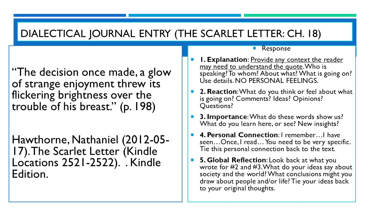 the scarlet letter rdquo by nathaniel hawthorne english iii unit ppt dialectical journal entry the scarlet letter ch