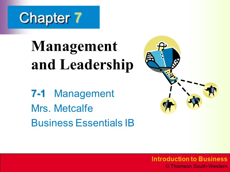 Introduction to Business © Thomson South-Western ChapterChapter Management and Leadership 7-1 7-1Management Mrs.