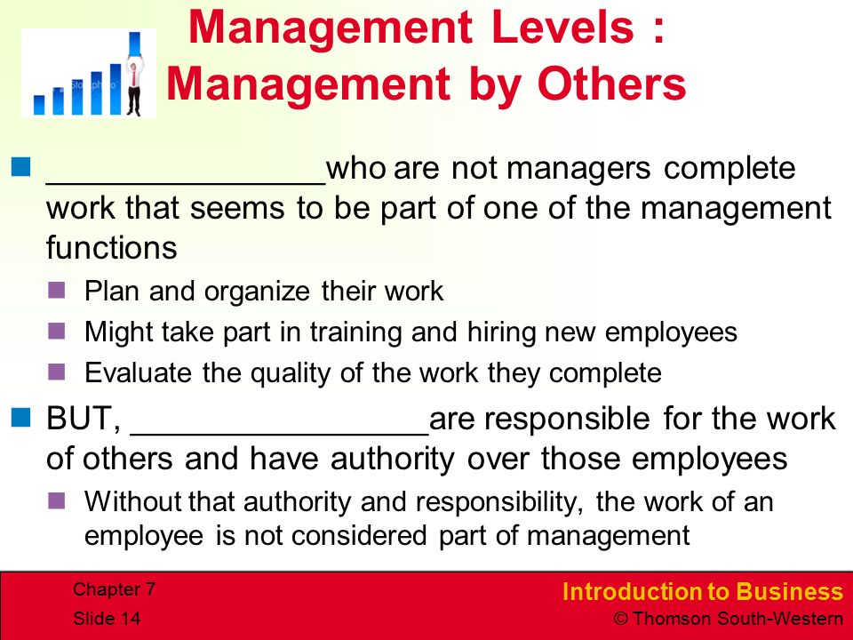 Introduction to Business © Thomson South-Western Chapter 7 Slide 14 Management Levels : Management by Others _______________who are not managers complete work that seems to be part of one of the management functions Plan and organize their work Might take part in training and hiring new employees Evaluate the quality of the work they complete BUT, ________________are responsible for the work of others and have authority over those employees Without that authority and responsibility, the work of an employee is not considered part of management