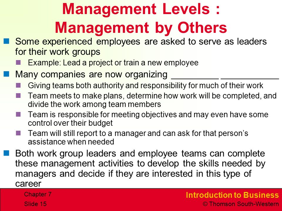 Introduction to Business © Thomson South-Western Chapter 7 Slide 15 Management Levels : Management by Others Some experienced employees are asked to serve as leaders for their work groups Example: Lead a project or train a new employee Many companies are now organizing _________ ___________ Giving teams both authority and responsibility for much of their work Team meets to make plans, determine how work will be completed, and divide the work among team members Team is responsible for meeting objectives and may even have some control over their budget Team will still report to a manager and can ask for that person's assistance when needed Both work group leaders and employee teams can complete these management activities to develop the skills needed by managers and decide if they are interested in this type of career