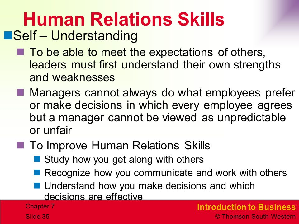 Introduction to Business © Thomson South-Western Chapter 7 Slide 35 Human Relations Skills Self – Understanding To be able to meet the expectations of others, leaders must first understand their own strengths and weaknesses Managers cannot always do what employees prefer or make decisions in which every employee agrees but a manager cannot be viewed as unpredictable or unfair To Improve Human Relations Skills Study how you get along with others Recognize how you communicate and work with others Understand how you make decisions and which decisions are effective