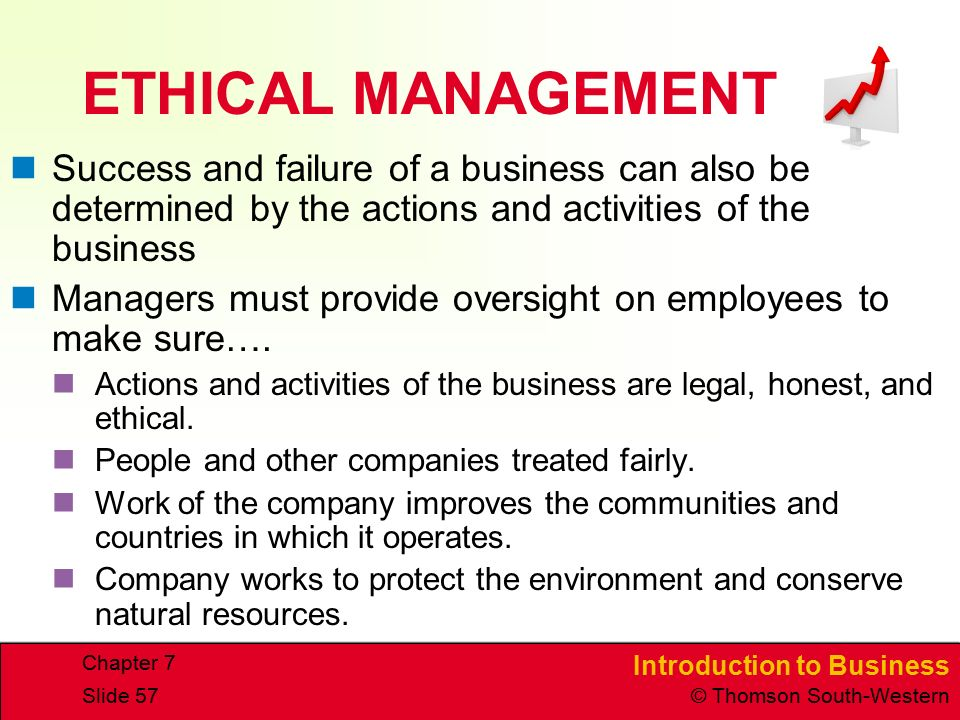 Introduction to Business © Thomson South-Western Chapter 7 Slide 57 ETHICAL MANAGEMENT Success and failure of a business can also be determined by the actions and activities of the business Managers must provide oversight on employees to make sure….