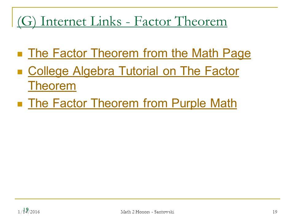 1/14/2016 Math 2 Honors - Santowski 1 Lesson 20 – Solving Polynomial ...
