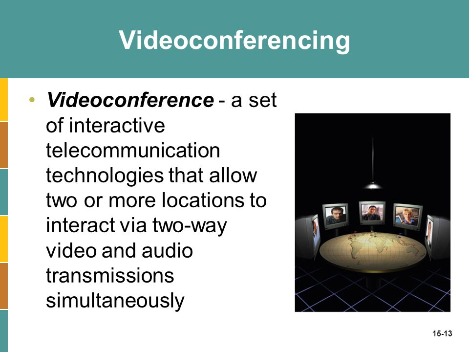 15-13 Videoconferencing Videoconference - a set of interactive telecommunication technologies that allow two or more locations to interact via two-way video and audio transmissions simultaneously