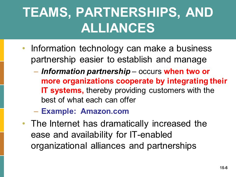 15-6 TEAMS, PARTNERSHIPS, AND ALLIANCES Information technology can make a business partnership easier to establish and manage –Information partnership – occurs when two or more organizations cooperate by integrating their IT systems, thereby providing customers with the best of what each can offer –Example: Amazon.com The Internet has dramatically increased the ease and availability for IT-enabled organizational alliances and partnerships