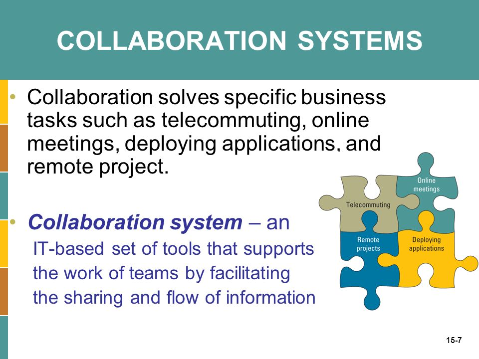 15-7 COLLABORATION SYSTEMS Collaboration solves specific business tasks such as telecommuting, online meetings, deploying applications, and remote project.