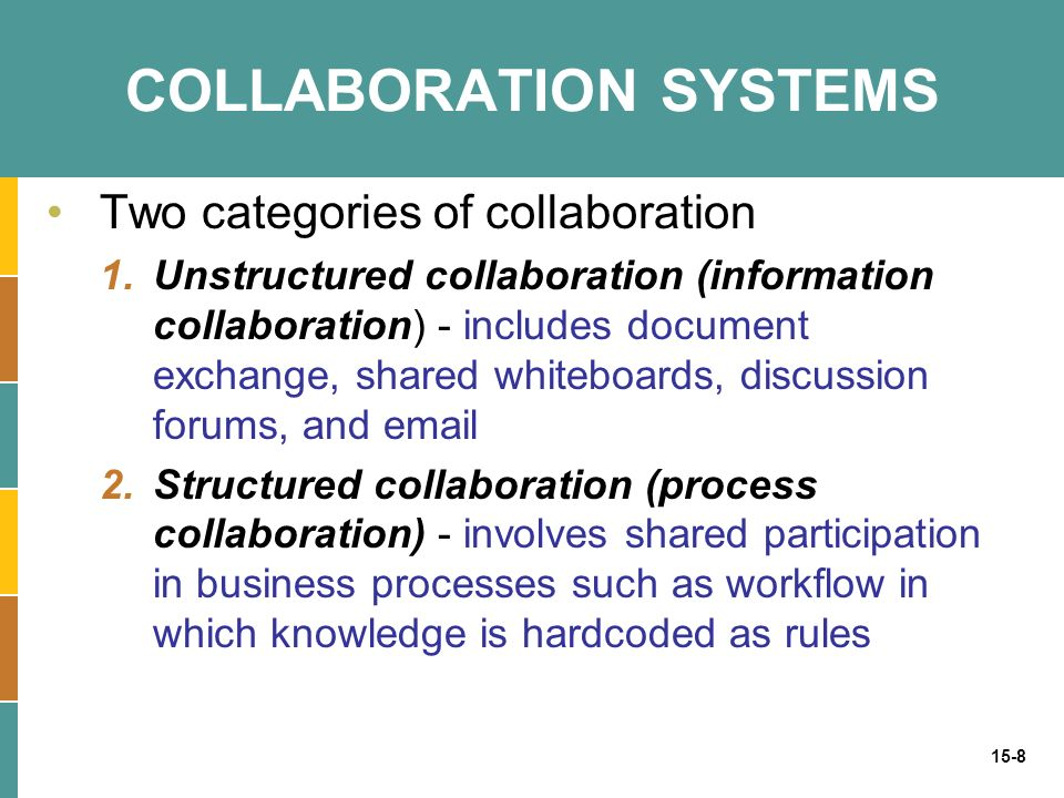 15-9 COLLABORATION SYSTEMS Collaborative business functions