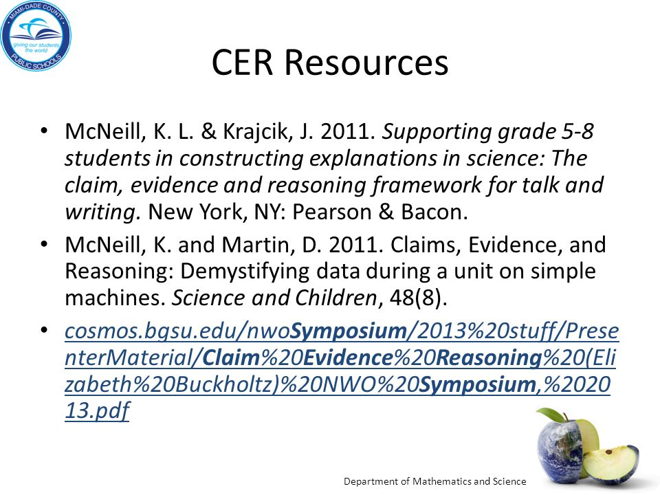 Department of Mathematics and Science CER Resources McNeill, K.