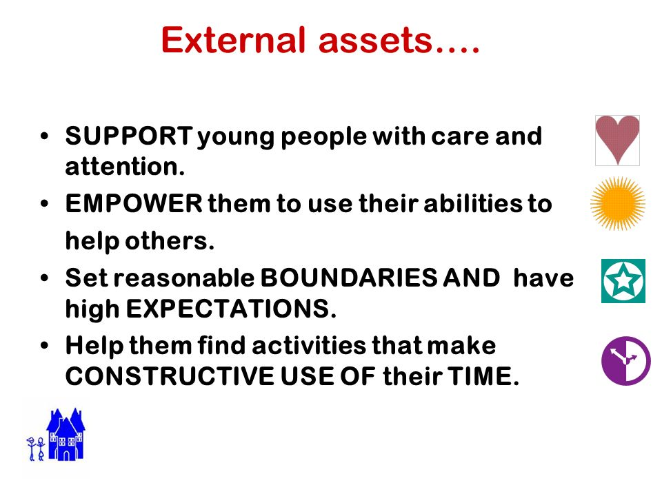 External assets…. SUPPORT young people with care and attention.