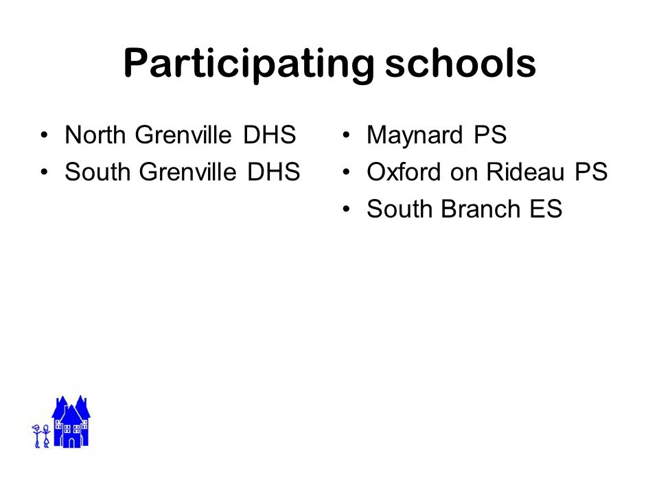 Participating schools North Grenville DHS South Grenville DHS Maynard PS Oxford on Rideau PS South Branch ES
