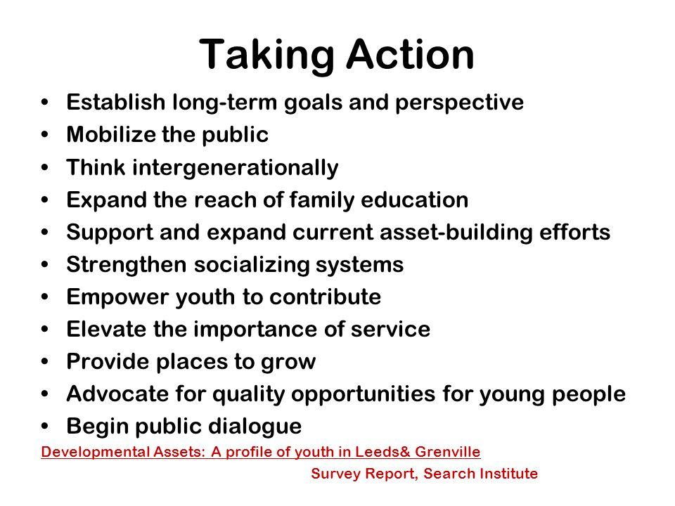 Taking Action Establish long-term goals and perspective Mobilize the public Think intergenerationally Expand the reach of family education Support and expand current asset-building efforts Strengthen socializing systems Empower youth to contribute Elevate the importance of service Provide places to grow Advocate for quality opportunities for young people Begin public dialogue Developmental Assets: A profile of youth in Leeds& Grenville Survey Report, Search Institute