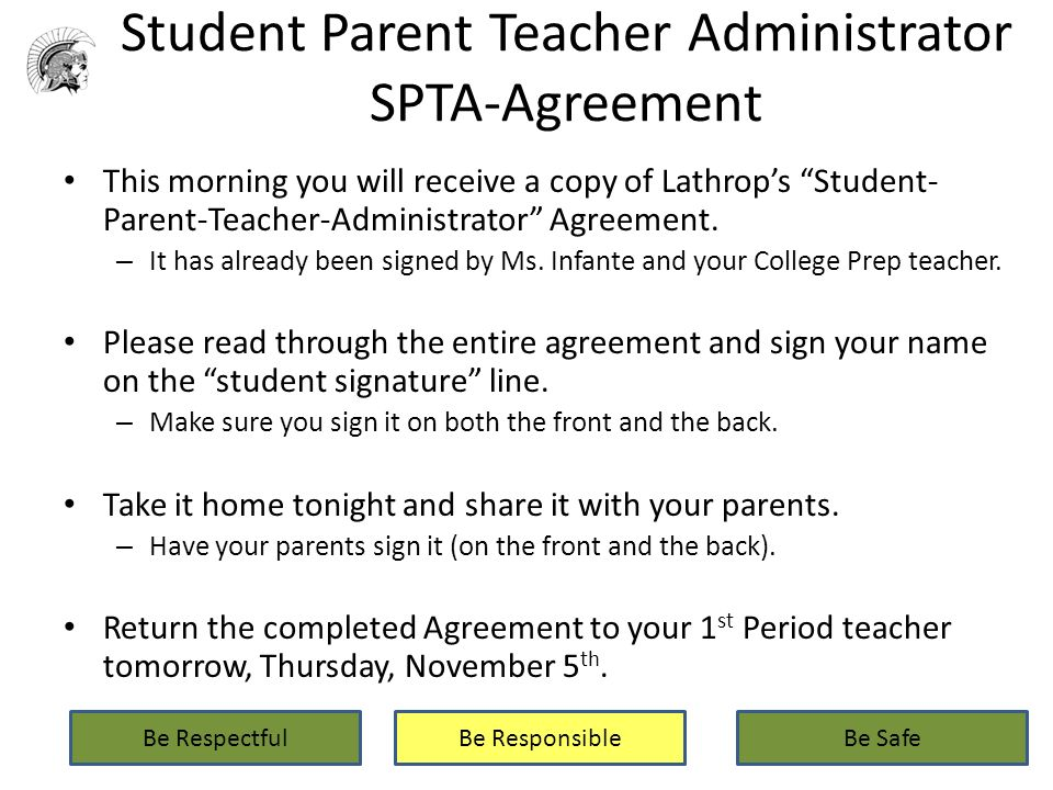 Lathrop intermediate school college prep wednesday november 4 2015 student parent teacher administrator spta agreement this morning you will receive a copy of lathrops platinumwayz