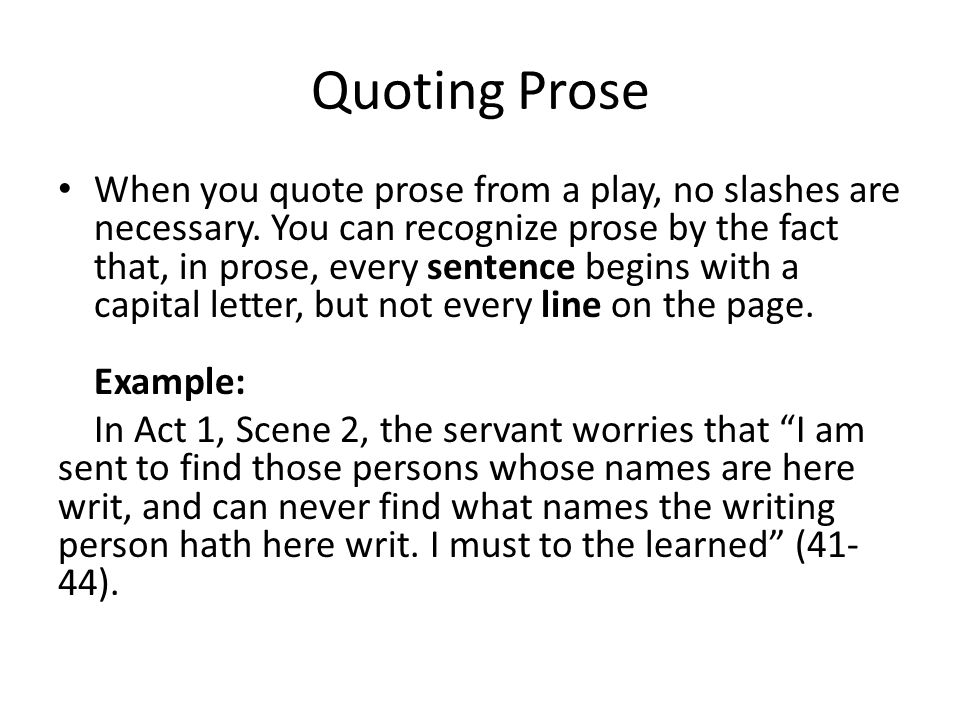 How do you quote Shakespeare in an essay ?