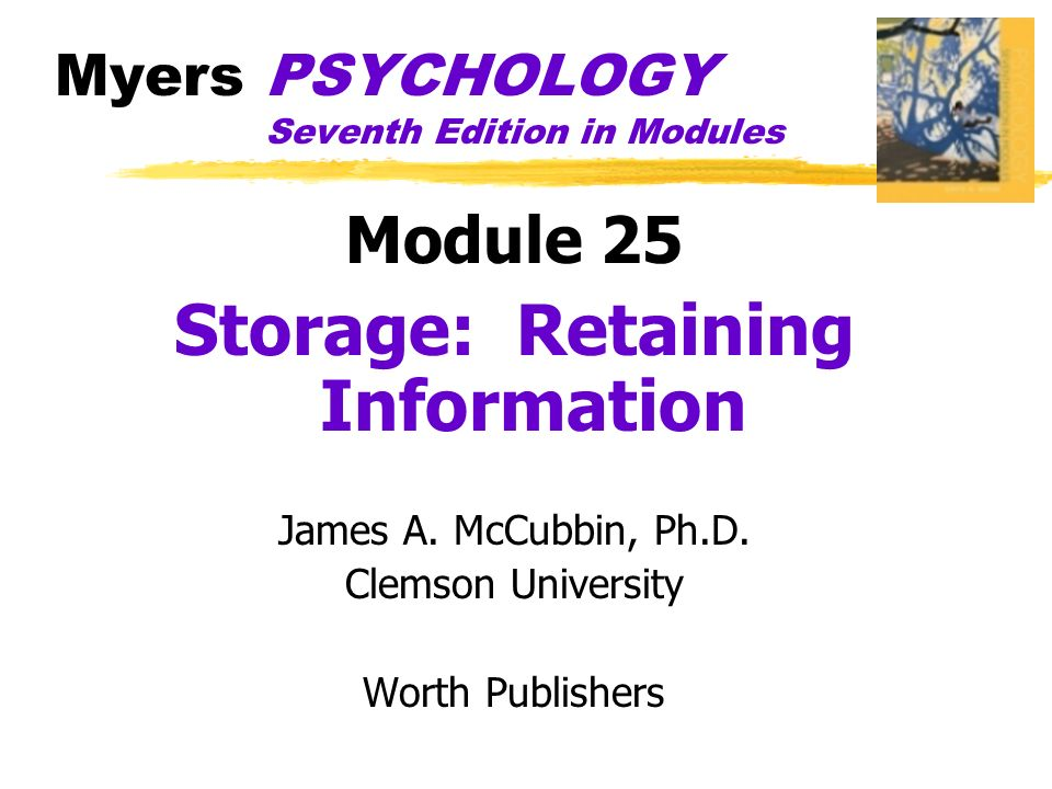 Myers Psychology Seventh Edition In Modules Module 25 Storage Retaining Information James A