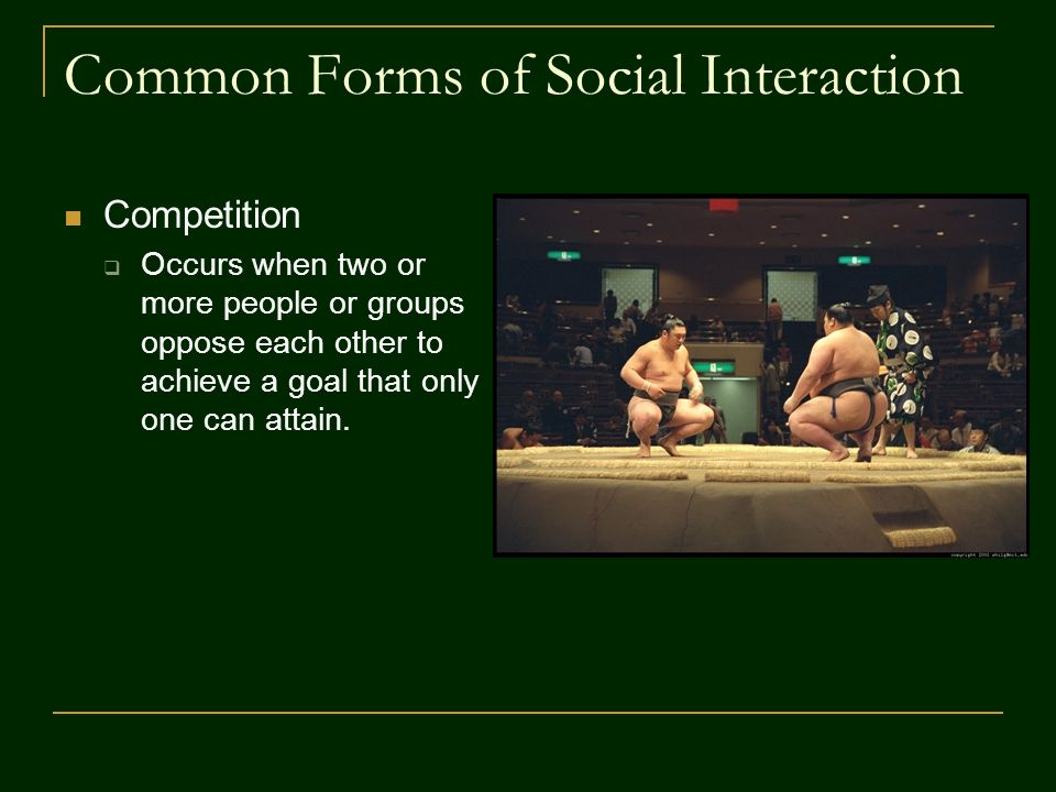 Common Forms of Social Interaction Competition  Occurs when two or more people or groups oppose each other to achieve a goal that only one can attain.