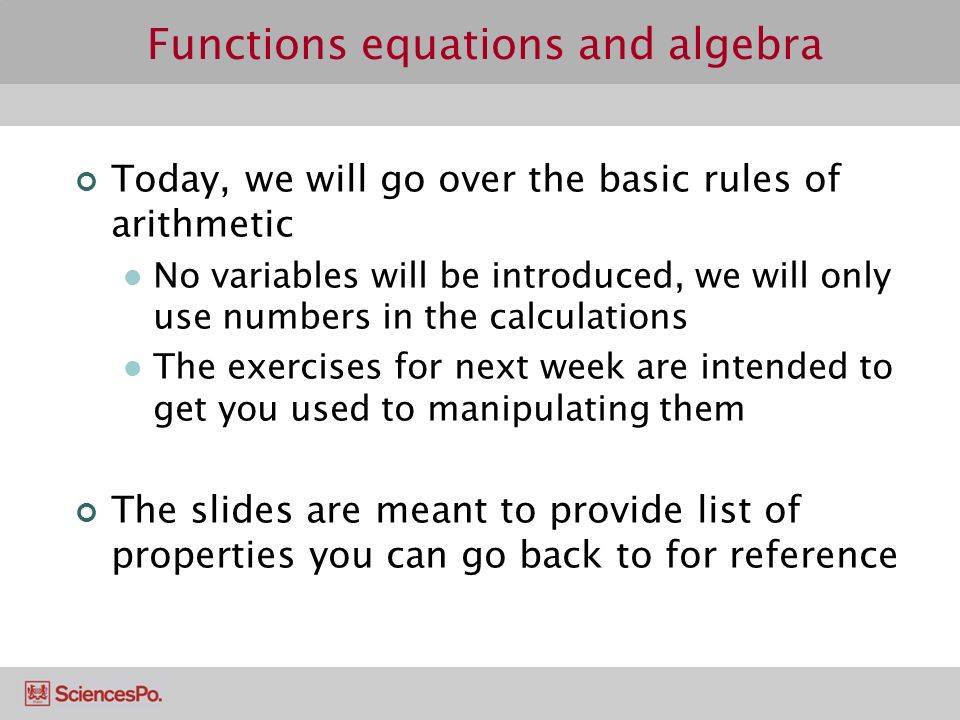 Functions, equations and algebra Basic Arithmetic Notation and ...