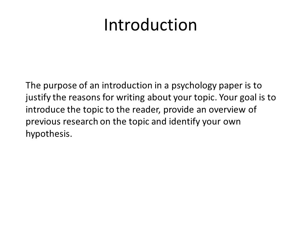 examples of introductions for research papers Biology research paper format (for example: a previous study the introduction concisely describes the purpose of the investigation and should tell the.