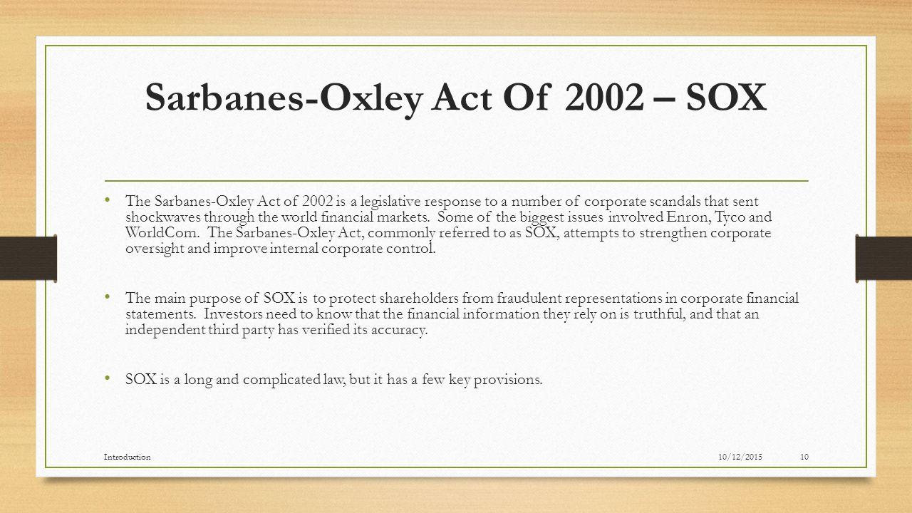 sarbanes oxley act sox essay