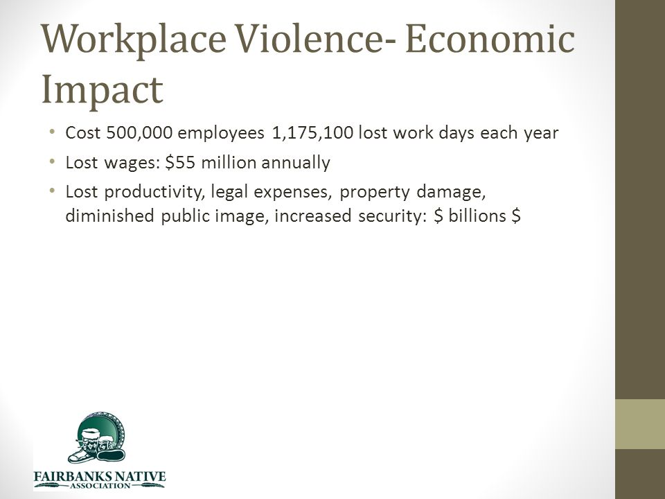 Workplace Violence- Economic Impact Cost 500,000 employees 1,175,100 lost work days each year Lost wages: $55 million annually Lost productivity, legal expenses, property damage, diminished public image, increased security: $ billions $